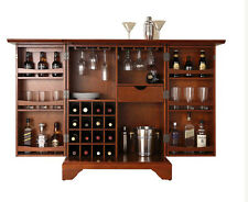 Expandable Home Wine Bar Cabinet Wood Living Room Furniture Rack Bottle Storage