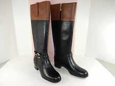 "NEW BANDOLINO CARLY 1 1/2"" BLK/BRN LEATHER WIDE SHAFT TALL DRESS BOOTS/ W ZIPPER"