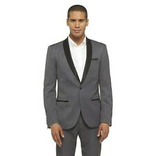 Men's WD.NY Black Slim Fit Shawl Collar Tuxedo Jacket - Gray