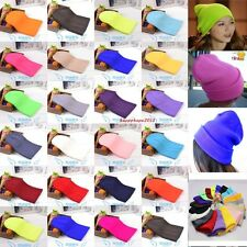 Warm Solid color Cuff Blank Plain Beanie Knit Ski Cap Skull Hat Beany 30 Colors