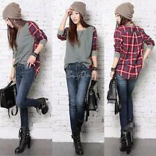 1Pc Women Ladies Plaid Checked Long Sleeve Casual Loose T shirt Tops Blouse New