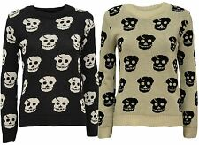 New Womens Skull Head Print Long Sleeve Knitted Jumper Tops 4-10