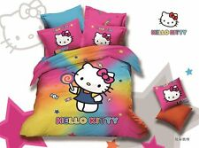 ** Rainbow Candy Hello Kitty Queen Bed Quilt Cover Set - Flat or Fitted Sheet **