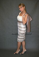 Mother Of The Bride 2 Piece Formal Outfit Dress Jacket Cappuccino Ivory BNWOT
