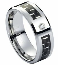 Diamond Tungsten mens Wedding Band Ring 8mm Black Carbon Fiber G/H SI2 Modern