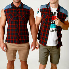 Mens ST GOLIATH Sleeveless Shirt Raw Edge Vest CHECK style casual street Checked