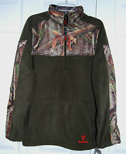 Mens Huntworth Lifesyle 2-Tone Fleece 1/4 Zip Pullover Shirt-Camo/Green (957)