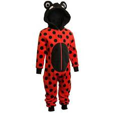 Girls Supersoft Fleece Hooded Novelty Character Ladybird Onesie Red Black 2-11yr