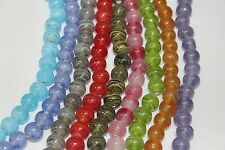 Hand Crafted & Polished-8 - 9 mm-Round- 140 to 144 Beads -Unique Swirl Pattern