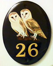 HAND PAINTED CERAMIC HOUSE SIGN NAME NUMBER PLAQUE - YOUR NO. CHOICE OF PICTURES