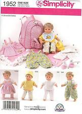 """New 15"""" Baby Doll Patterns Simplicity, - You Choose"""