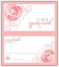 Floral - Personalized Tented Custom Place/Escort Cards - Wedding/Shower/Birthday