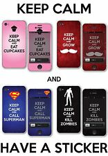 KEEP CALM Funny Skin Stickers Decals Variations for iPhone 4/4s -Back & Front