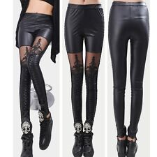 Fashion Sexy Women Ladies Faux Leather Gothic Punk Leggings Pants Lace Trousers