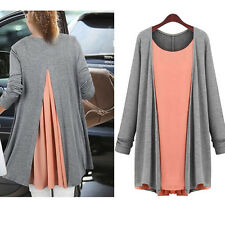 Women Chiffon Cotton Tops Scoop Neck Tee Shirt Plus Size Blouse Long Tunic Dress