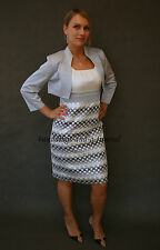 Elegant Mother Of The Bride 2 Piece Formal Outfit Dress Jacket Silver Ivory New