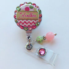 PERSONALIZED SUGAR PLUMS CHEVRON BLING RETRACTABLE ID BADGE HOLDER LANYARD