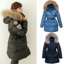 Womens Winter Jacket Real Fur Collar Hood Thick 90% Duck Down Parka Long Coat