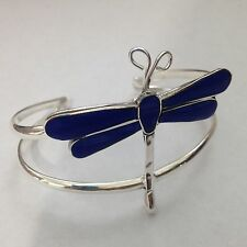Silver Plated Over Copper Handmade Inlay Dragonfly Cuff Bracelet