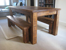 Chunky Wood Dining Table and Chairs Set
