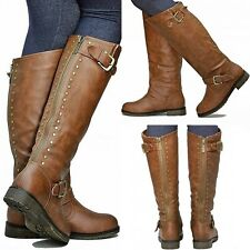 New Women TDh1 Tan Studded Riding Knee High Boots sz 5 to 10
