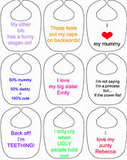 personalised baby bib slogan any text gift baby toddler boy girl teething