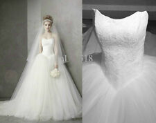 stoclk New Graceful Strapless Lace Tulle Wedding Dresses Bridal Ball Gown Custom