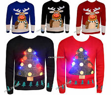 MENS WOMENS CHRISTMAS JUMPER LIGHTS KNITTED XMAS NOVELTY SWEATER LIGHT UP SIZE