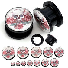 2pcs Rose Skull Acrylic Screw Tunnels Ear Plugs Expander Stretcher Punk Piercing