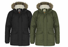 MENS BRAVE SOUL QUILTED PADDED HOODED PARKA PARKER  JACKET COAT SIMA BLACK