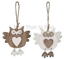 Chic Shabby Wooden Owl Hanging Heart Decoration Brown Cream Vintage Rustic Wood