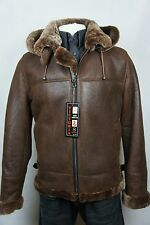 New B3 Men 100% Shearling Leather Sheepskin Bomber Aviator Flight Jacket S-8XL