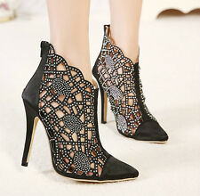Womens Hollow Out Diamond Pointy Toe Stiletto High Heel Ankle Boots Wedding Shoe