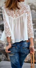 ZARA BEAUTIFUL ROMANTIC BLOUSE WITH  LACE DETAIL BLOGGERS NEW
