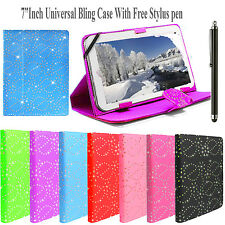 """Bling 7"""" 7.8"""",8"""" Inch Universal Diamond Leather Case Cover For All Android Tabs"""