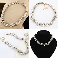 Silver/Gold Crystal Flower Statement Bib Chunky Charm Choker Necklace Pendant