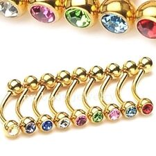 "1pc. 16g~5/16"", 3/8"" Gold Plated 316L Curved Eyebrow Barbell with CZ Gem Balls"
