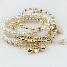 Fashion Hot Women Pearl Charms Plated Beads Ball Bangle Cuff Bracelet Jewelry