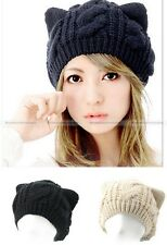 Crochet Cat Ears Beanie Plain Colours Hats Warm Winter Knitted Hats Cap