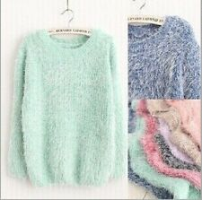 Women Round Neck Mohair Knitted Pullover Jumper Loose Sweater Knitwear