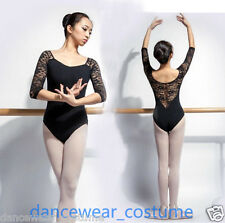 Ladies Long Sleeve Ballet Dance Gymnastics Leotard Cotton Lace Yoga Leotards 4SZ
