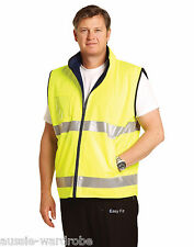 NEW HIGH VISIBILITY REVERSIBLE MANDARINE COLLAR SAFETY POLYESTER FLURO WORK VEST