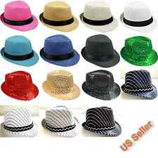 "Kids Boys Girls Fedora Hat Trilby Cuban Style Upturn 1-2/8"" Brim Cap Hat Panama"