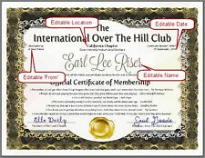 OVER THE HILL CLUB or OLD FARTS CLUB Official Certificate Of Membership Gift PDF