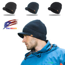 Mens Winter Wool Visor Brim Crochet Beanie Hat Thick Knit Skull Ski Cap #0003