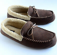 Dockers Men's Microsuede Aviator Style Warm Slippers Brown Size M L XL Retail$36