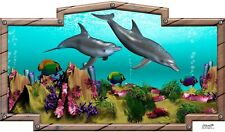 Dolphins tropical fish ocean RV camper Motorhome Mural vinyl graphic decal