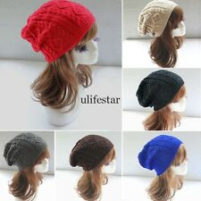 Women Winter Warm Baggy Knit Crochet Skull Ski Cap Beanie Hat Cable Knit LM