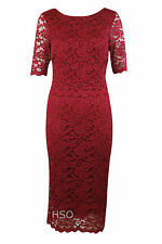 Ex M&CO Ladies Marnie Womens Deep Red Lace Shift Evening Party Dress Cocktail