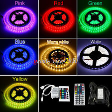 5M/10M/15M 5050 SMD LED Strip Light IR 24/44Key 16 Colors RGB/Warm/Cool Adapter